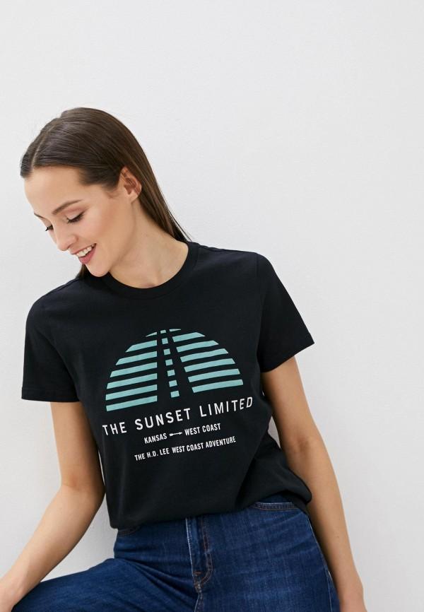 женская футболка lee, черная
