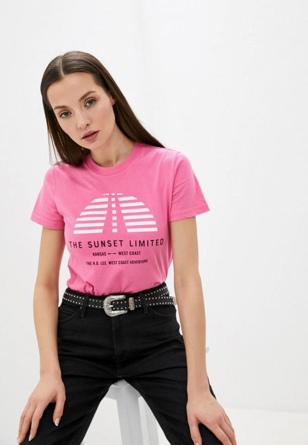 женская футболка lee, розовая