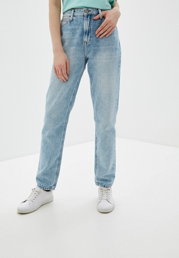 женские джинсы-мом lee, голубые