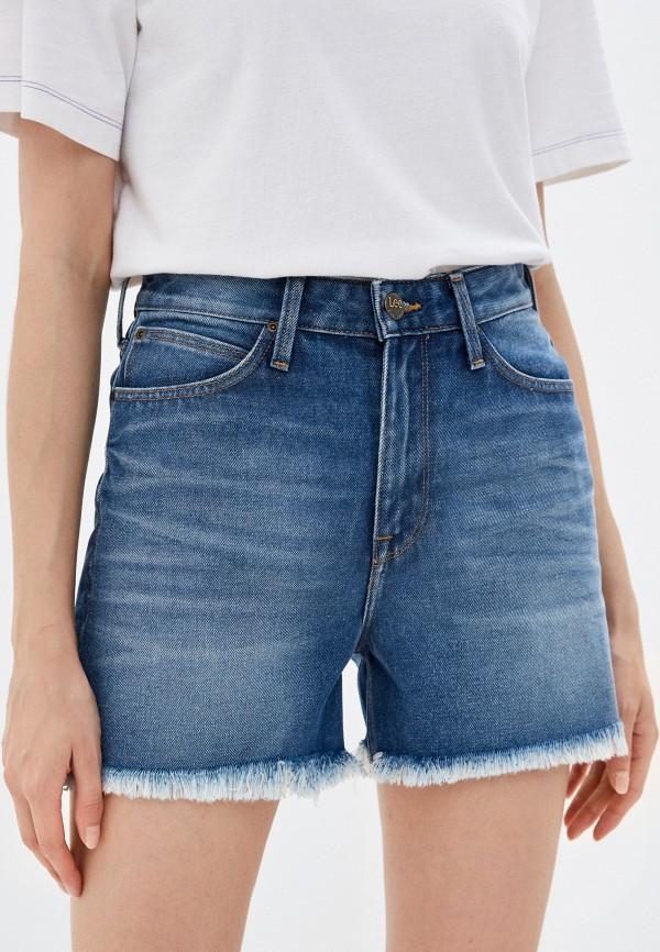 женские джинсовые шорты lee, синие