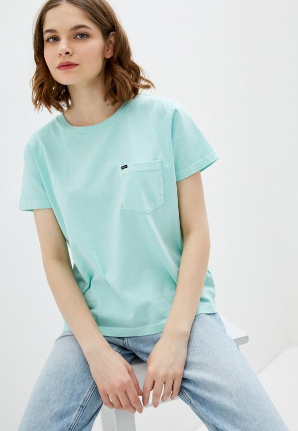 женская футболка lee, зеленая