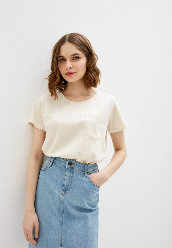 женская футболка lee, желтая