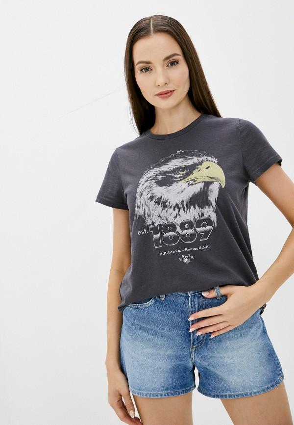 женская футболка lee, серая