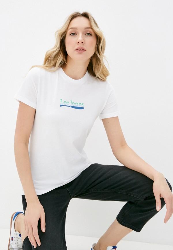 женская футболка lee, синяя