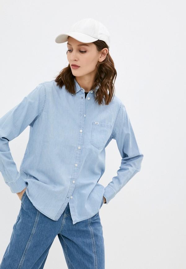 женская джинсовые рубашка lee, голубая