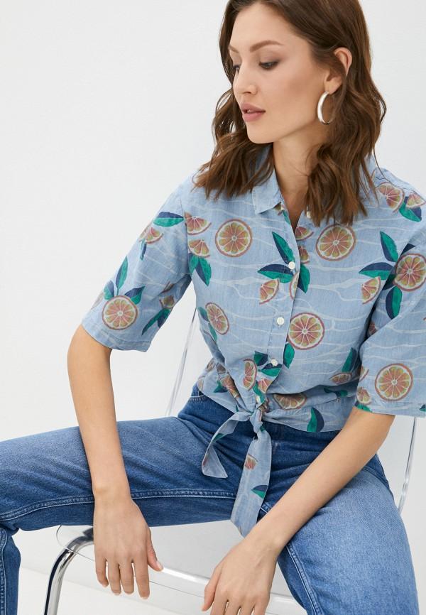женская блузка с коротким рукавом lee, голубая