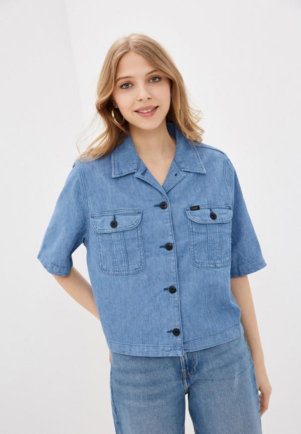 женская джинсовые куртка lee, голубая