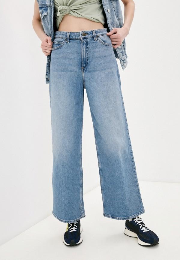 женские джинсы клеш lee, голубые