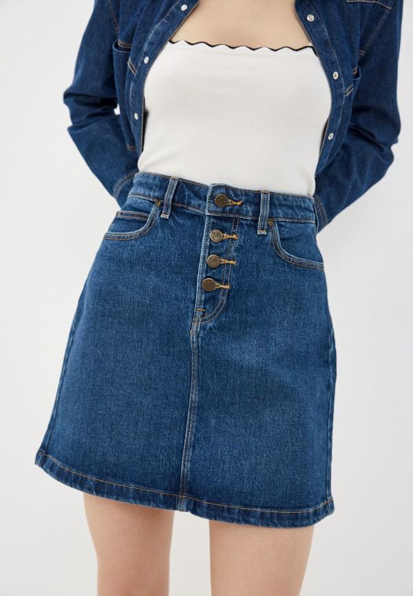 женская джинсовые юбка lee, синяя