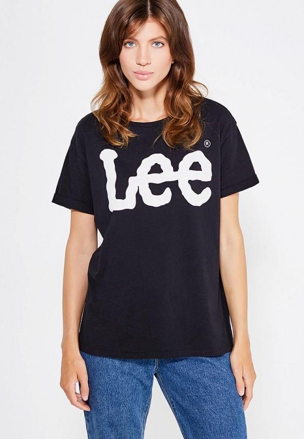 женская футболка с коротким рукавом lee, черная
