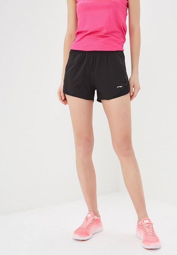 женские спортивные спортивные шорты li-ning, черные