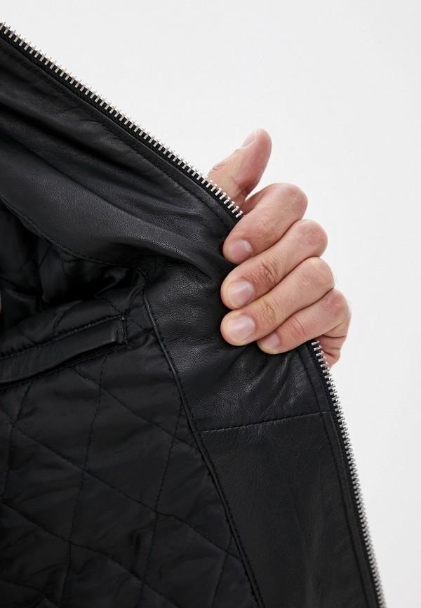 Фото 4 - Куртку кожаная Lindbergh черного цвета