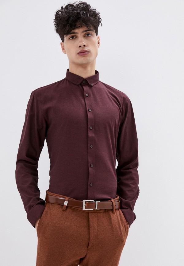 мужская рубашка с длинным рукавом lindbergh, бордовая
