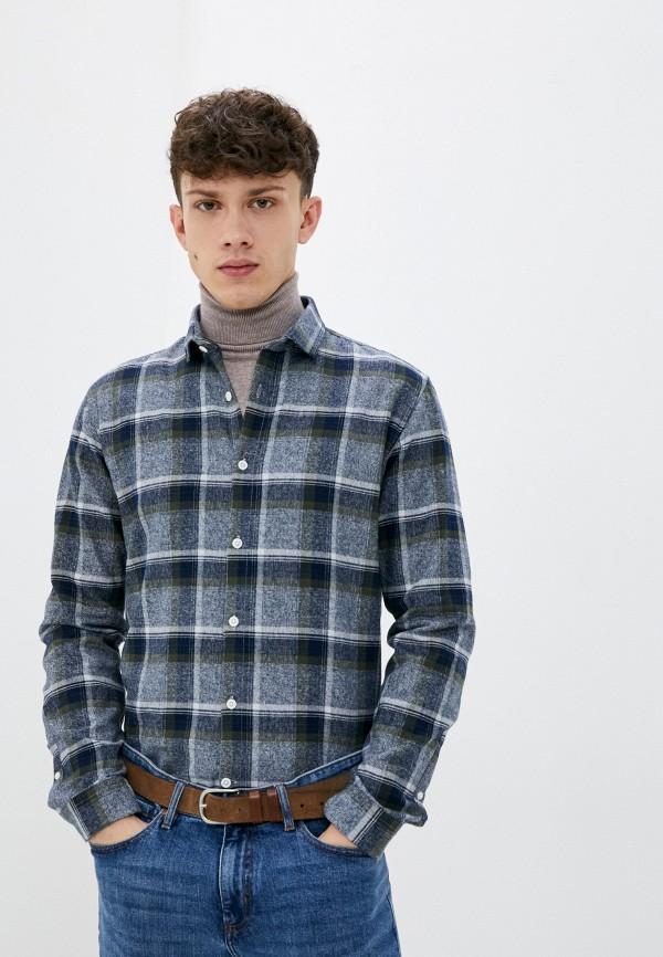 мужская рубашка с длинным рукавом lindbergh, синяя