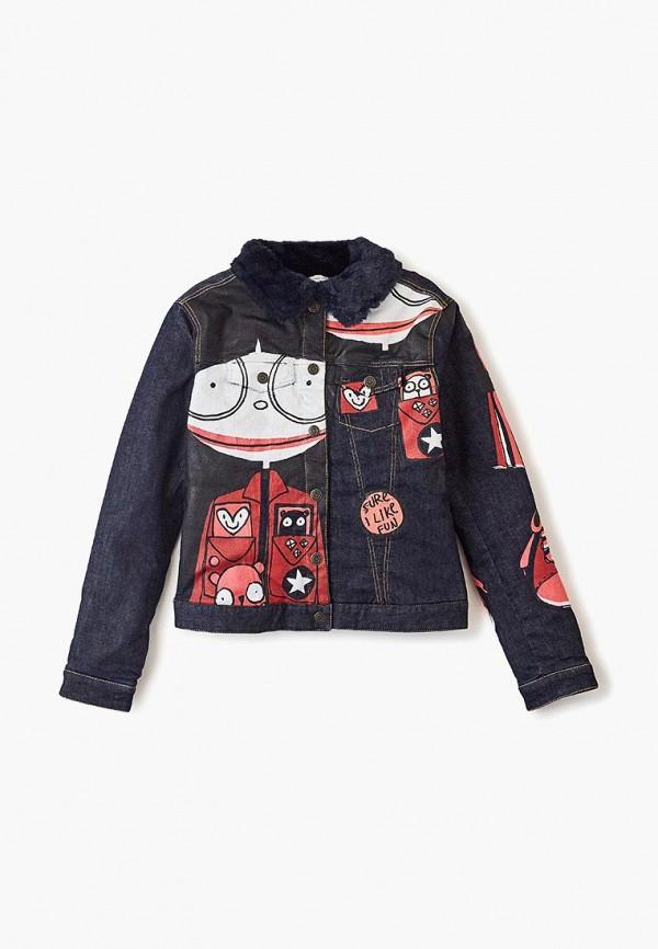 джинсовые куртка little marc jacobs для девочки, разноцветная