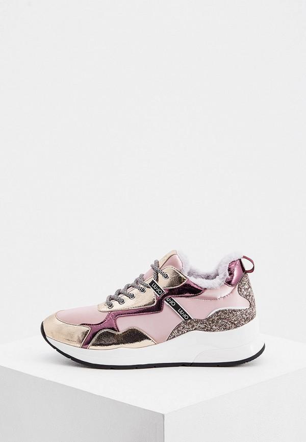 женские низкие кроссовки liu jo, розовые