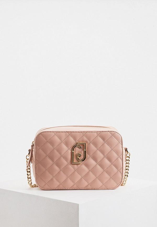 женская сумка через плечо liu jo, розовая