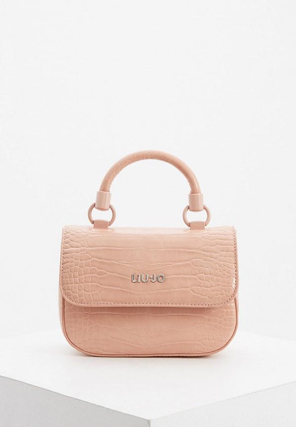 женская сумка с ручками liu jo, розовая
