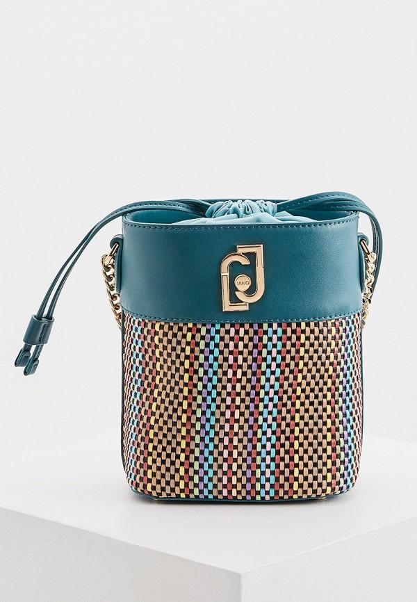 женская сумка-ведро liu jo, бирюзовая