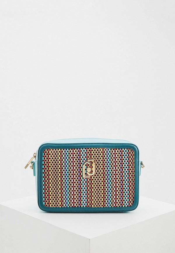женская сумка через плечо liu jo, бирюзовая