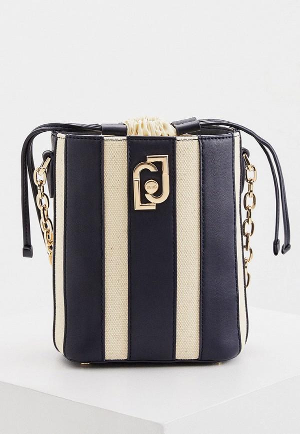 женская сумка-ведро liu jo, синяя