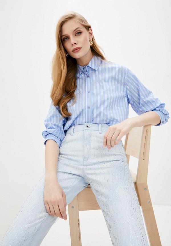 женская рубашка с длинным рукавом liu jo, голубая