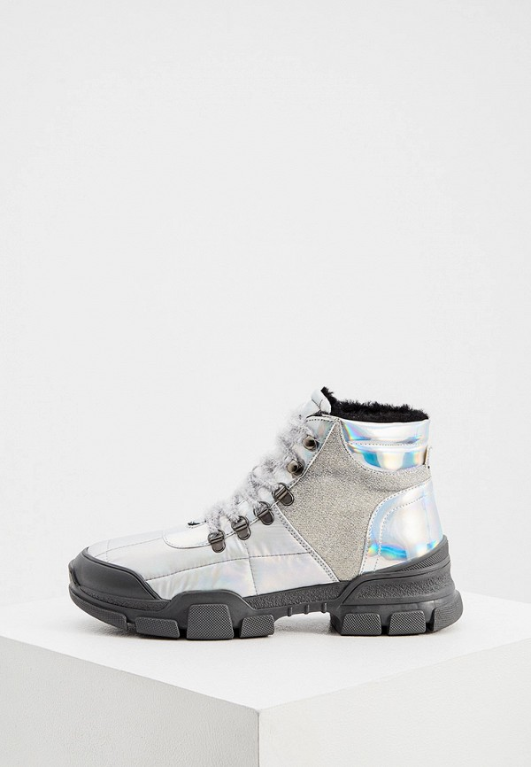 женские высокие ботинки l4k3, серебряные