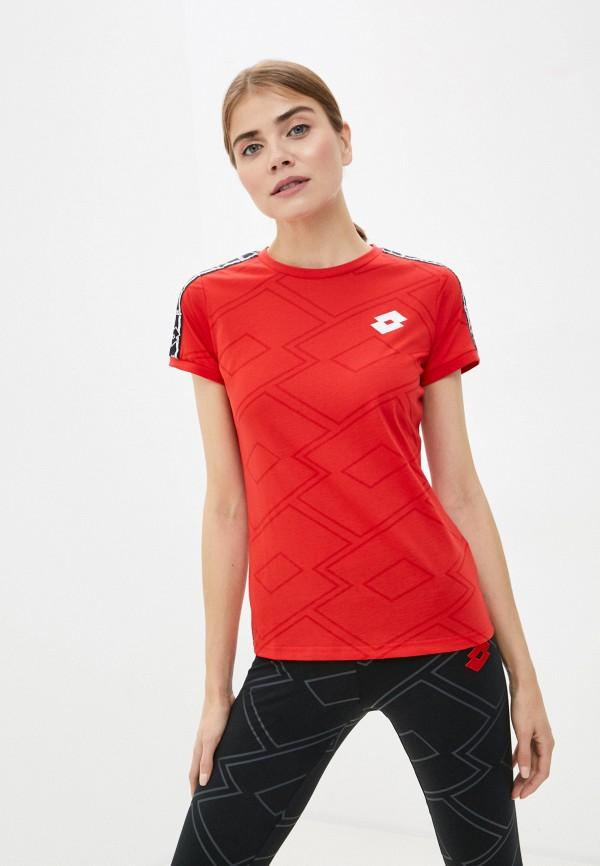 женская спортивные футболка lotto, красная