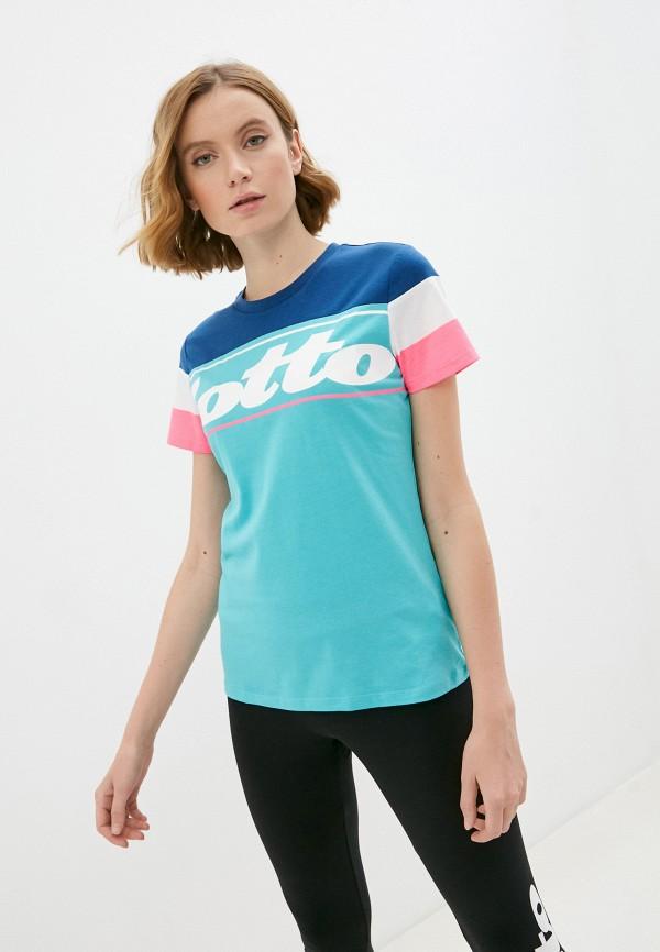 женская спортивные футболка lotto, бирюзовая