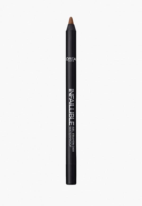 карандаш для глаз l'oreal paris, коричневый
