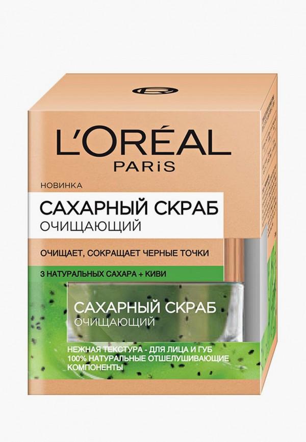 Купить Скраб для лица L'Oreal Paris, очищающий, сокращающий черные точки, 50 мл, 3 натуральных сахара и Киви, lo006lwbebp9, прозрачный, Осень-зима 2018/2019