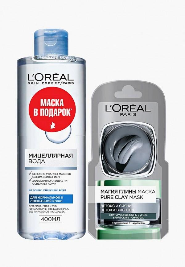 Купить Набор для ухода за лицом L'Oreal Paris, мицеллярная вода для снятия макияжа, для нормальной и смешанной кожи, гипоаллергенная, 400 мл + сашетка маски для лица Магия глины - детокс и сияние , 7 мл, lo006lwctfp2, серый, Осень-зима 2018/2019