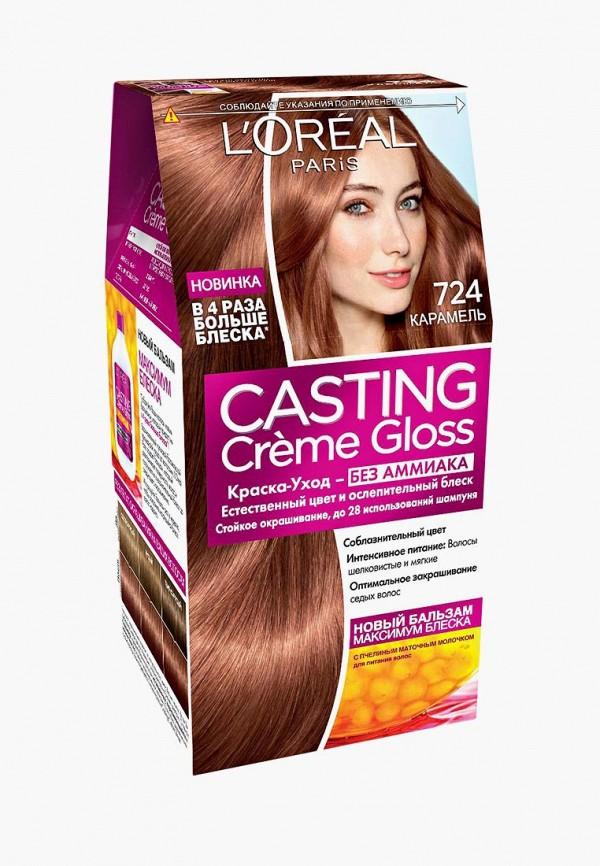 Купить Краска для волос L'Oreal Paris, Casting Creme Gloss , стойкая, без аммиака, оттенок 724 Карамель, lo006lwiiw88, прозрачный, Весна-лето 2019