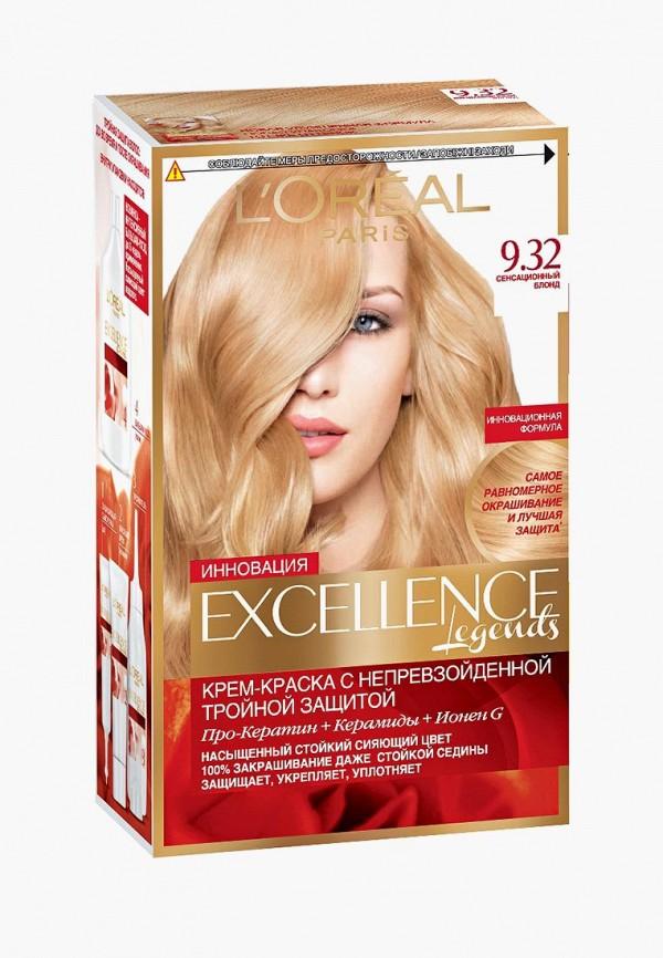 Купить Краска для волос L'Oreal Paris, Excellence , стойкая, оттенок 9.32, Сенсационный блонд, lo006lwivp03, прозрачный, Весна-лето 2019