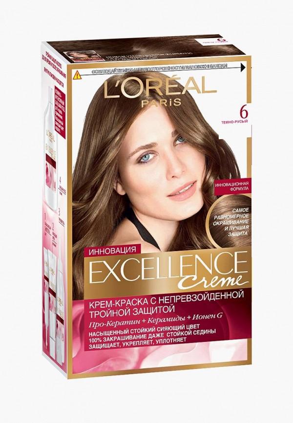 Купить Краска для волос L'Oreal Paris, Excellence , стойкая, оттенок 6, Темно-русый, lo006lwivp13, коричневый, Осень-зима 2018/2019