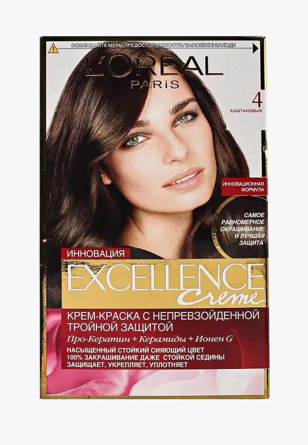 Купить Краска для волос L'Oreal Paris, Excellence, оттенок 4, Каштановый, lo006lwivp17, Осень-зима 2018/2019