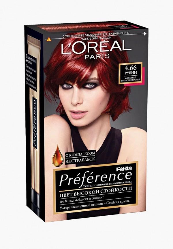 Купить Краска для волос L'Oreal Paris, Preference Feria , стойкая, оттенок, 4.66 Рубин, lo006lwlog26, коричневый, Весна-лето 2019