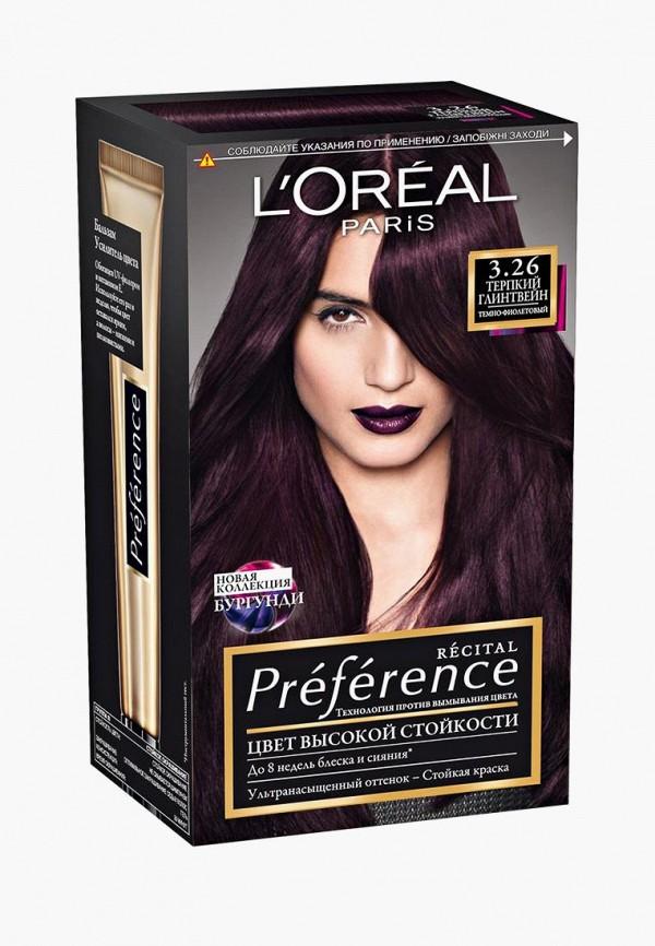 Краска для волос L'Oreal Paris, Preference , стойкая, оттенок 3.26, Терпкий глинтвейн, LO006LWUAV39, фиолетовый, Осень-зима 2018/2019  - купить со скидкой