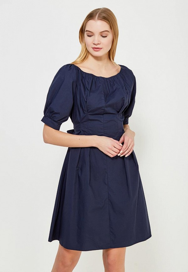 Купить Платье LOST INK, COTTON TIE FRONT FIT AND FLARE DRESS, LO019EWAALY7, синий, Весна-лето 2018