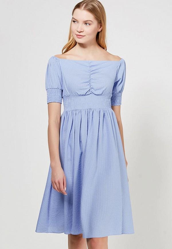 Купить Платье LOST INK, MINI STRIPE BARDOT FIT AND FLARE DRESS, LO019EWAGKJ5, синий, Весна-лето 2018