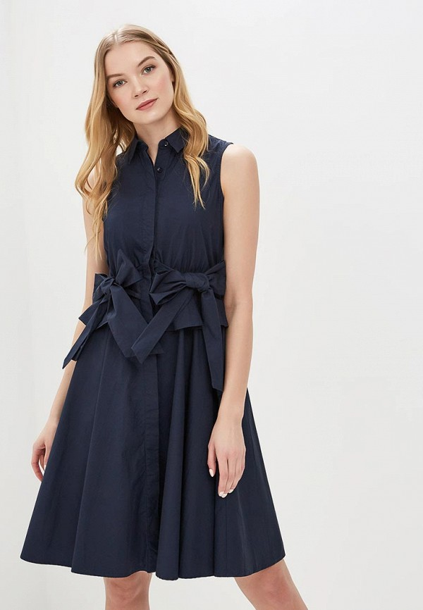 Купить Платье LOST INK, COTTON SHIRT DRESS WITH TIE SIDE, LO019EWAQDR0, синий, Весна-лето 2018