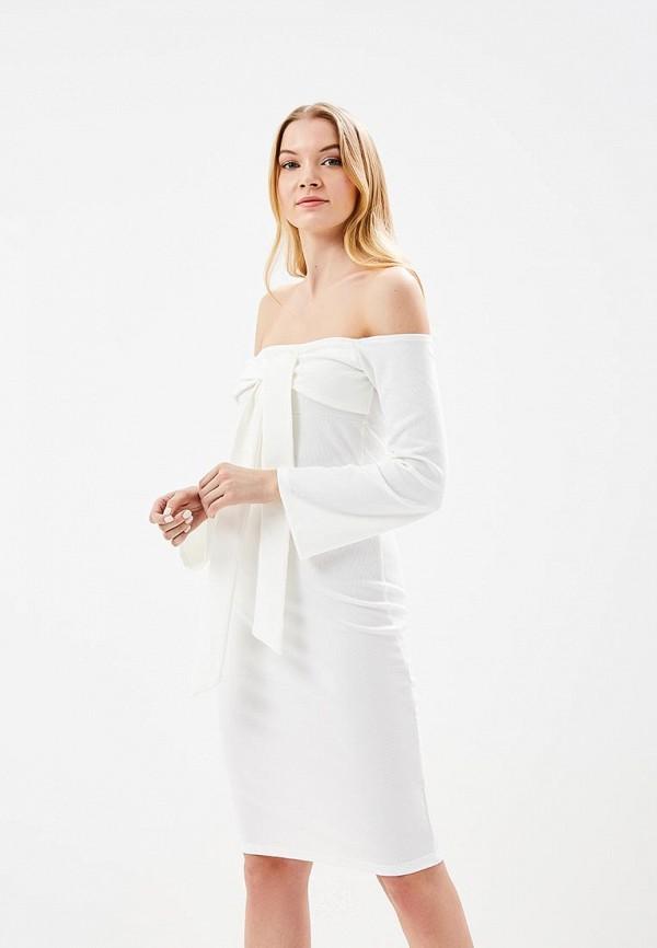 Купить Платье LOST INK, BARDOT TIE TOP BODYCON DRESS, LO019EWARJO8, белый, Весна-лето 2018