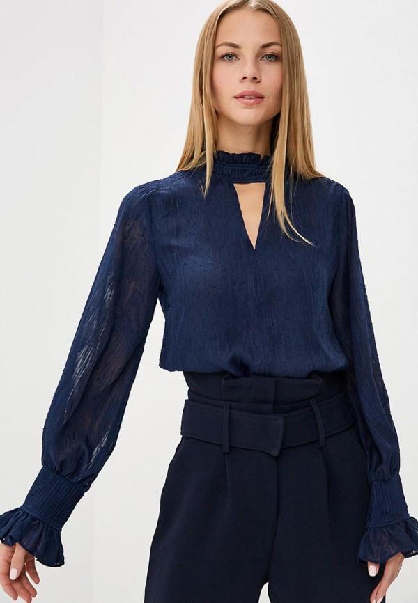 Купить Блуза LOST INK, PLEAT NECK TEXTURED BLOUSE, LO019EWCCPU4, синий, Осень-зима 2018/2019