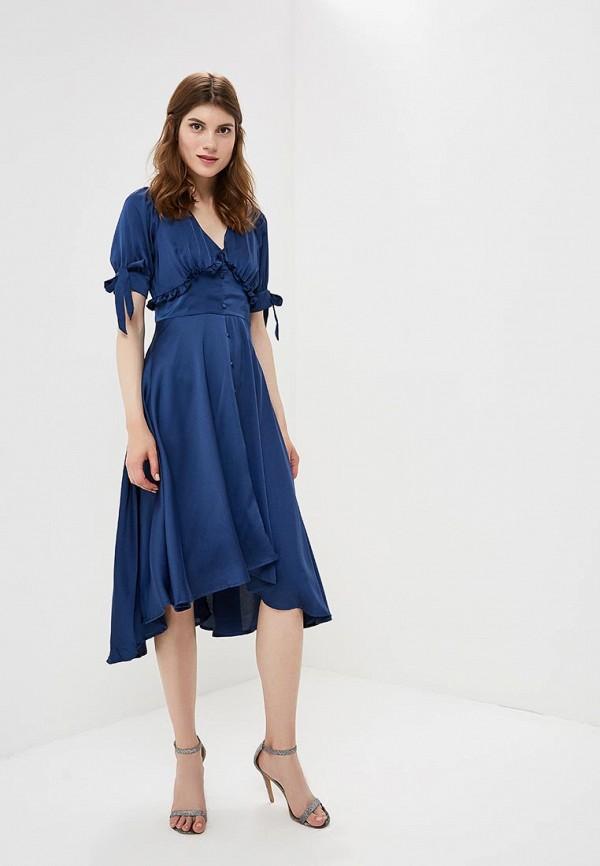 Купить Платье LOST INK, Satin Dipped Hem Tea Dress, LO019EWCCQF3, синий, Осень-зима 2018/2019