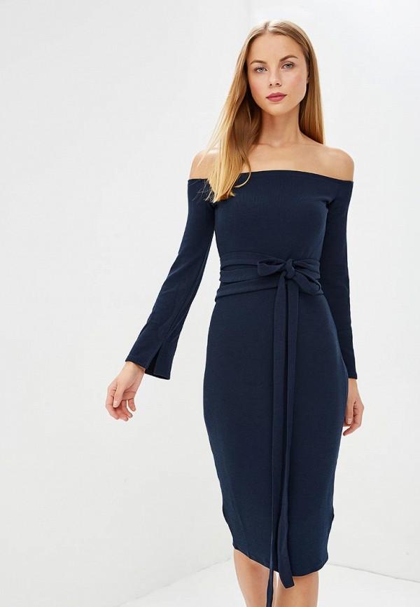Купить Платье LOST INK, BOAT NECK BELTED BODYCON DRESS, LO019EWCCQF6, синий, Осень-зима 2018/2019