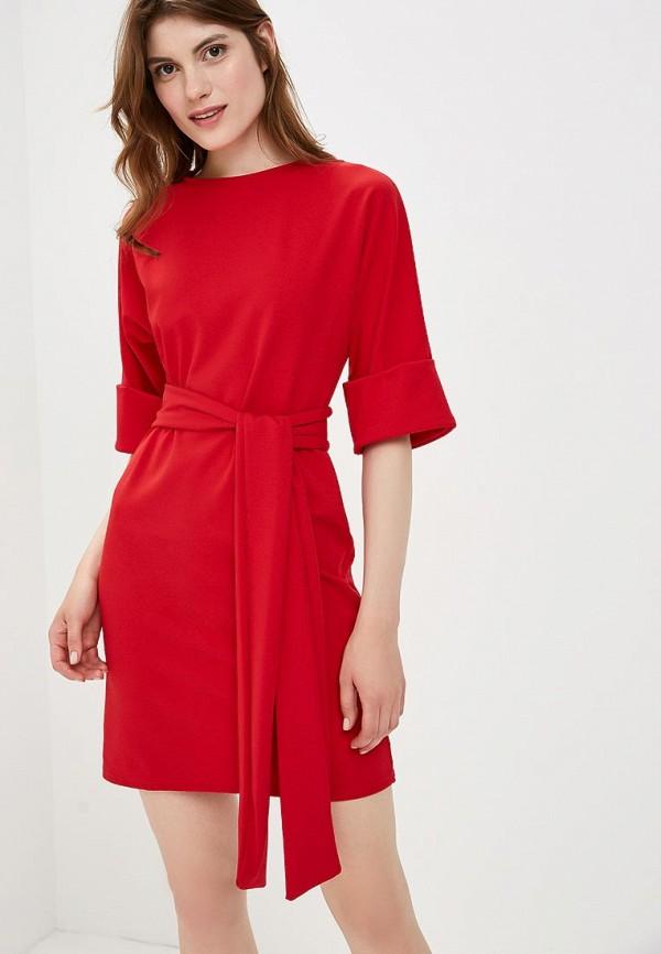 Купить Платье LOST INK, Turn Up Sleeve Tie Waist Dress, LO019EWCCQG9, красный, Осень-зима 2018/2019