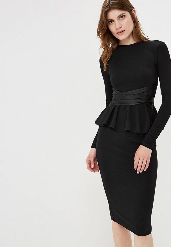 Купить Платье LOST INK, Satin Bow Front Bodycon Dress, LO019EWCCQH5, черный, Осень-зима 2018/2019