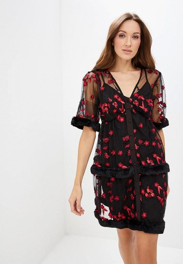 Купить Платье LOST INK, EMBROIDERIED FAUX FUR TRIM MINI SHIFT, lo019ewccqi7, черный, Осень-зима 2018/2019