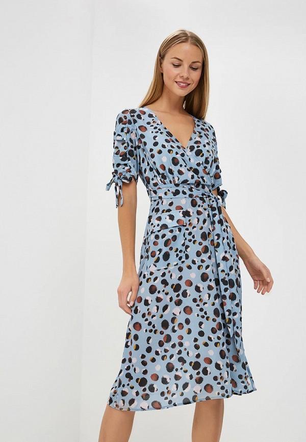 Купить Платье LOST INK, ANIMAL SPOT MIDI DRESS, lo019ewccqi8, голубой, Осень-зима 2018/2019