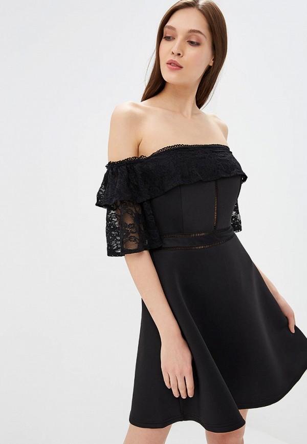 Купить Платье LOST INK, SCUBA & LACE BARDOT MINI DRESS, lo019ewccqk3, черный, Осень-зима 2018/2019